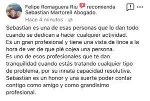 Sebastian Martorell Abogado agradecimiento Felipe Romaguera