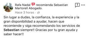 Sebastian Martorell Abogado agradecimiento Rafa Nadal