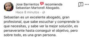Sebastian Martorell Abogado agradecimiento Jose Barrientos