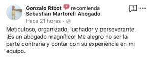 Sebastian Martorell Abogado agradecimiento Gonzalo Ribot