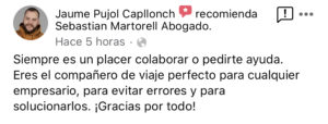 Sebastian Martorell Abogado agradecimiento Jaume Pujol